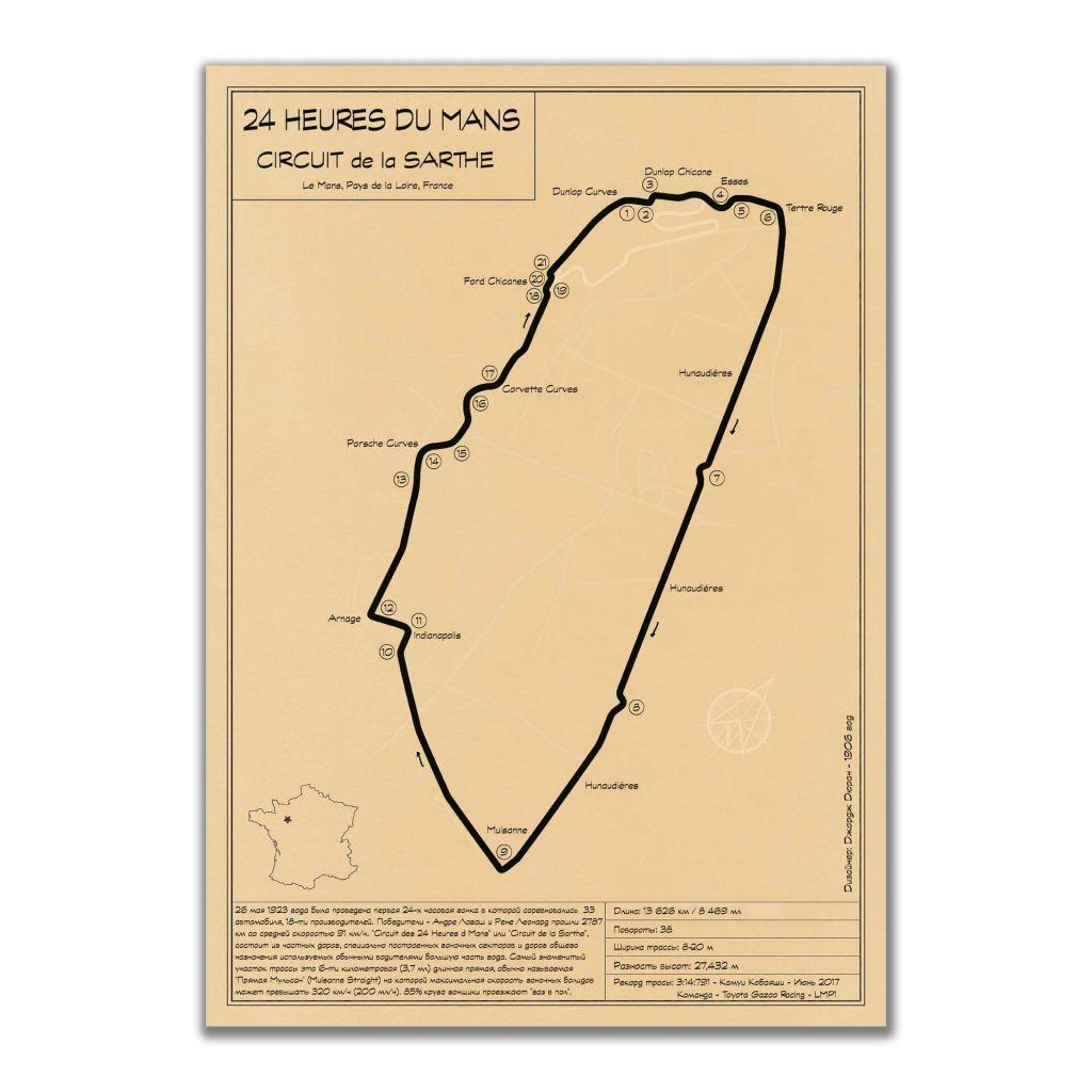 """Конфигурация трассы """"Circuit de la Sarthe"""" - А2 постеры в стиле лофт"""