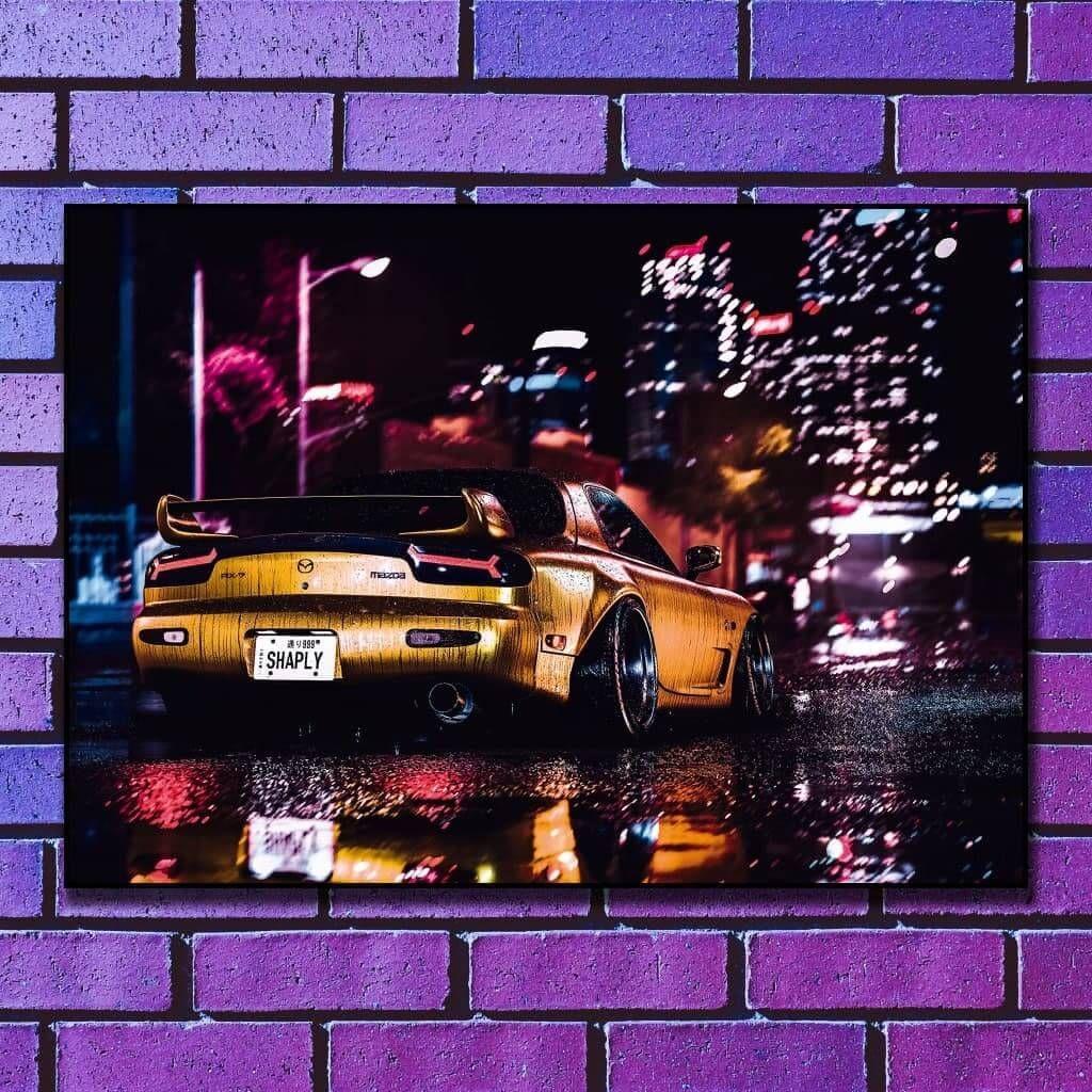 Постер на стену - Mazda RX7 City Night Lights