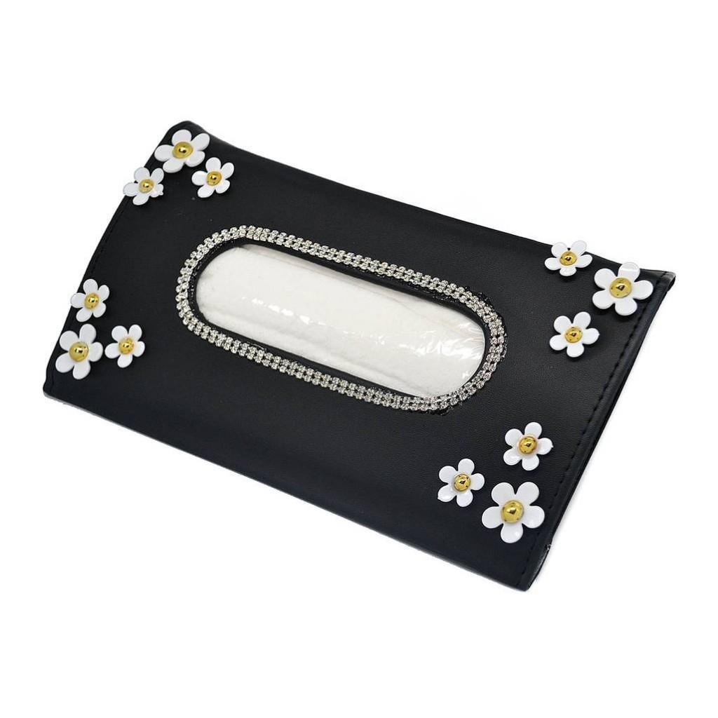 Контейнер для салфеток со стразами, в цветочек - BLACK