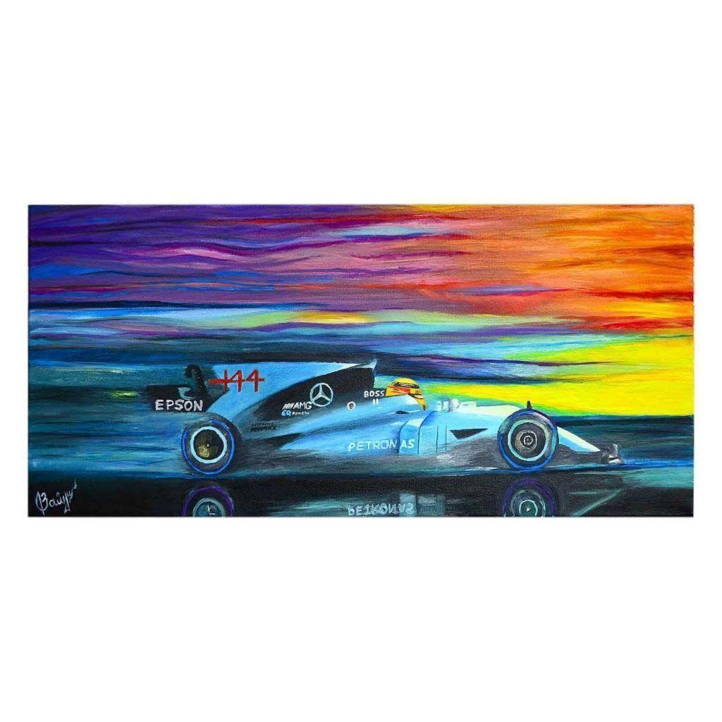 Флуоресцентная картина акрилом - Болид Mercedes AMG F1 W08 EQ Power+
