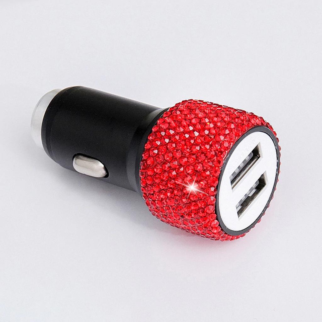 Тут можно купить красивое автомобильное зарядное сутройство, в стразах, с двойным USB портом для быстрой зарядки телефон или любого другого устройства.