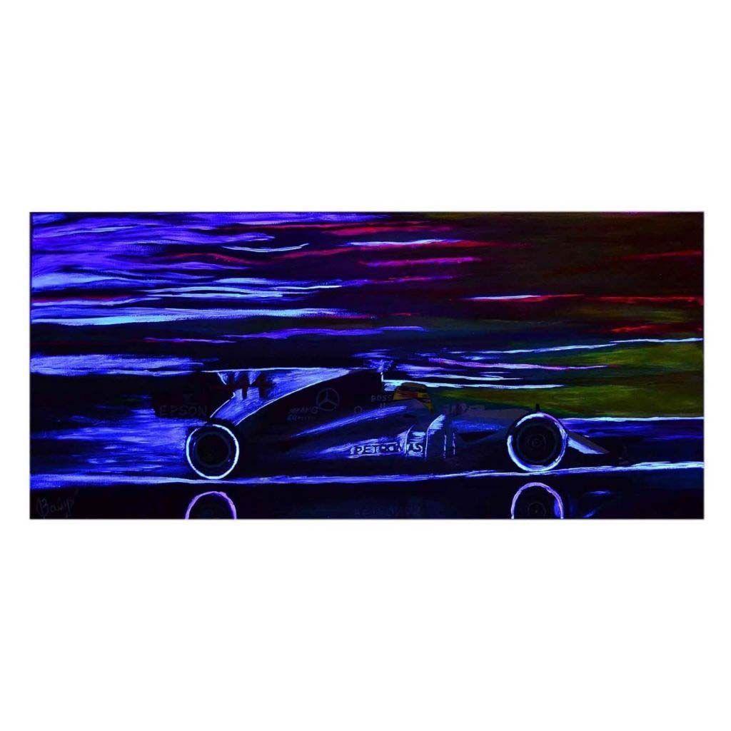Флуоресцентная Картина с машиной Mercedes AMG F1 W08 EQ Power+