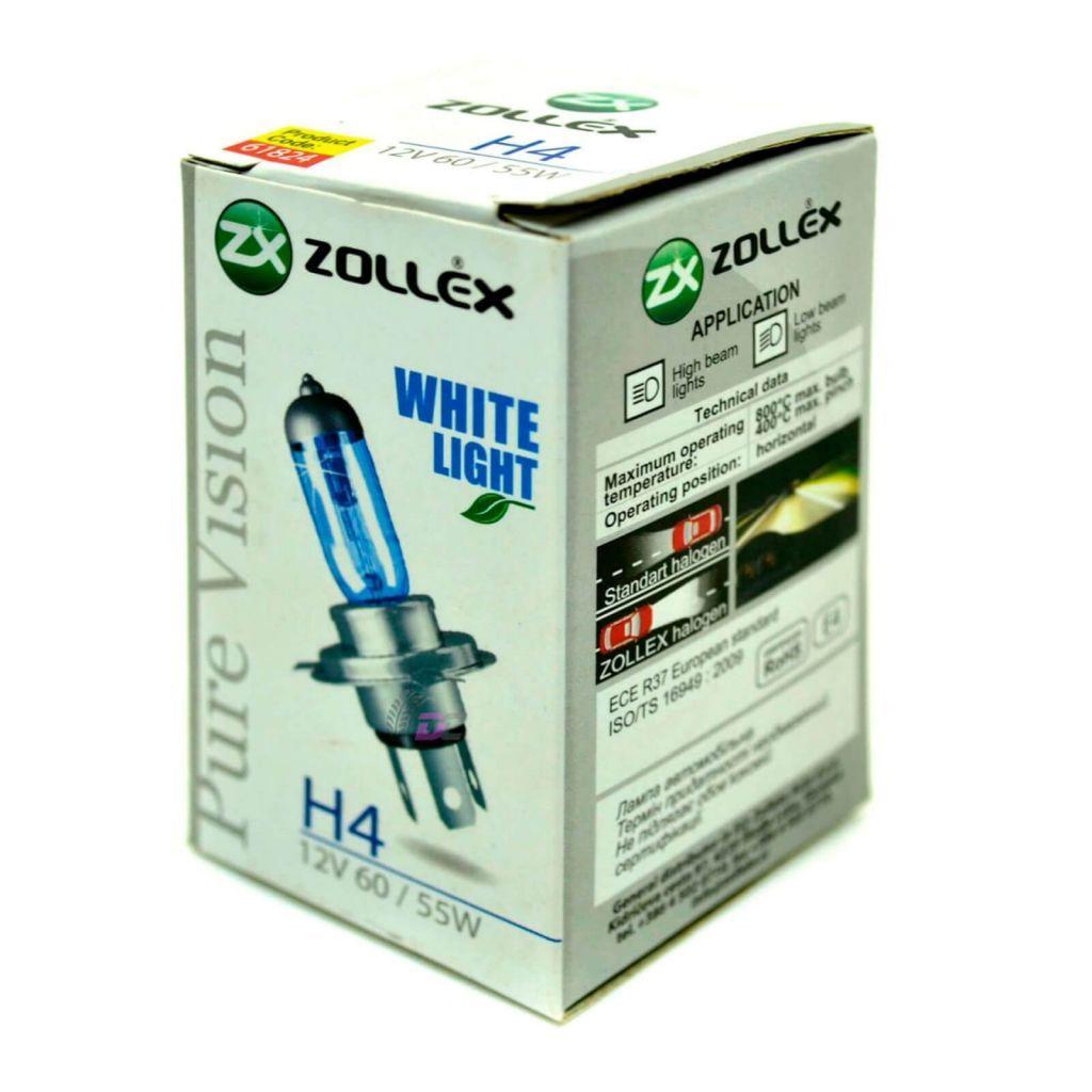 Галогенная лампа головного света - ZOLLEX Pure Vision WHITE LIGHT H4 60/55W 12V